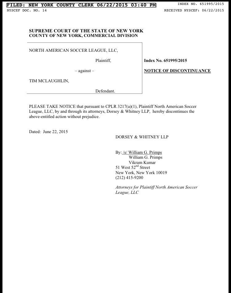 Court document suggests NASL lawsuit has been dropped.