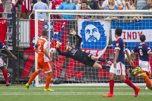 The ball gets past Nicht (Photo: Indy Eleven)
