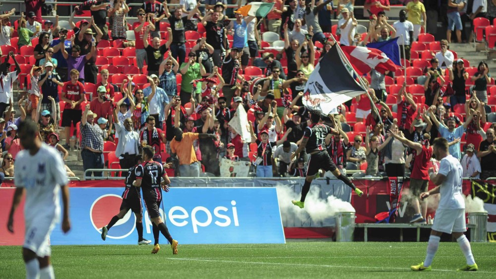 Aly Hassan celebrated his goal against the Carolina Railhawks (Photo: Ottawa Fury FC)