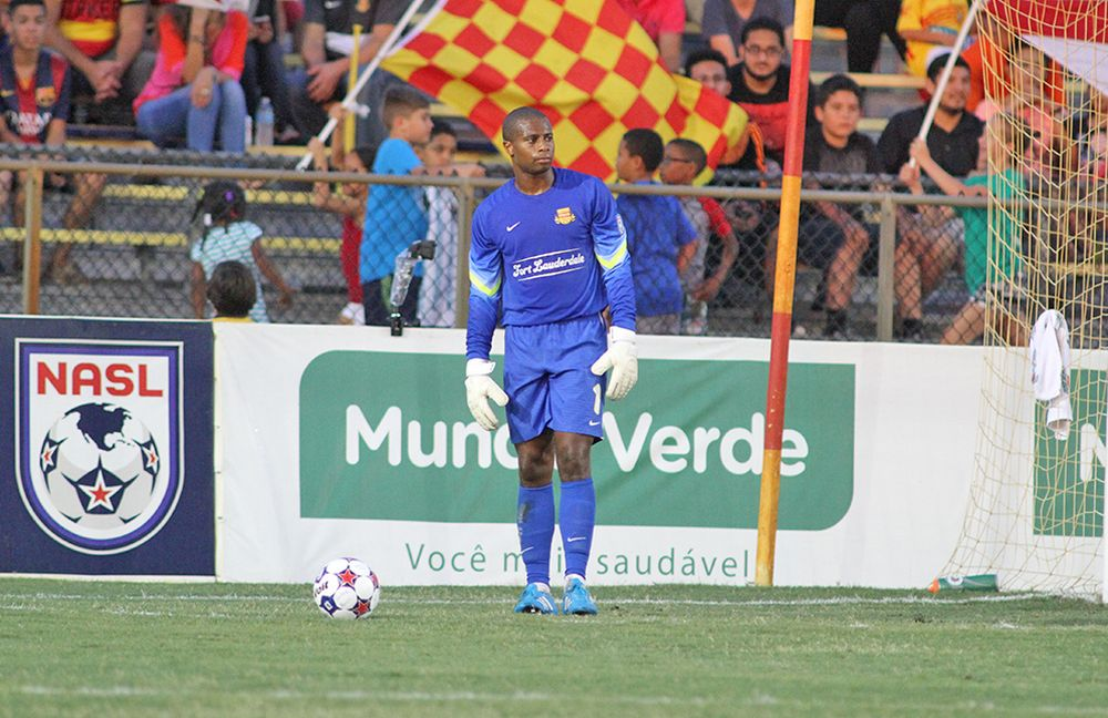 Josh Ford in action for the Strikers in his debut against Indy Eleven on June 6 at Lockhart Stadium. (Mandatory photo credit: Jon van Woerden / Fort Lauderdale Strikers)