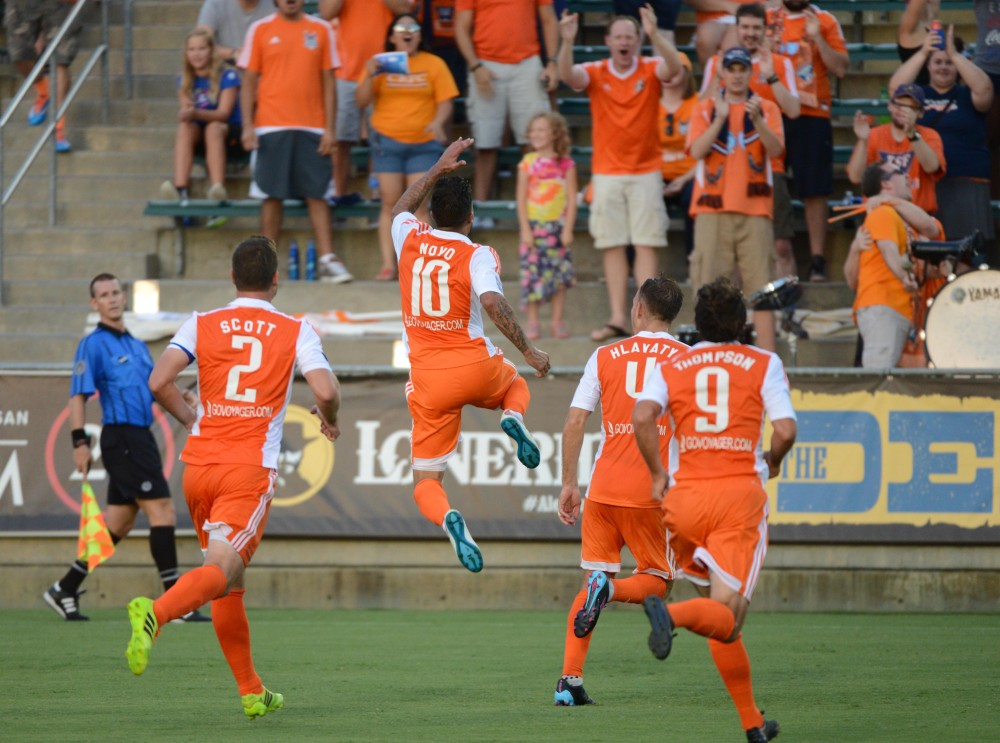 Nacho Novo Celebrates After Scoring (Photo: Carolina Railhawks)