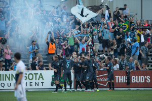 Minnesota United's 'Dark Clouds' celebrate a goal against the Armada (Photo: Minnesota United FC)