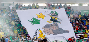 Rowdies fans hoist a Ninetendo themed tifo prior to their game against the Silverbacks (Photo by Matt May/Tampa Bay Rowdies)