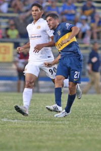 Bruno Nunes (FTL) and Cristian Erbes (Boca Juniors) - Courtesy Fort Lauderdale Strikers