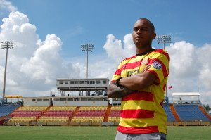 Fort Lauderdale Strikers midfielder Gabriel Rodrigues dos Santos poses in his new colors at Lockhart Stadium (Photo courtesy of the Fort Lauderdale Strikers)
