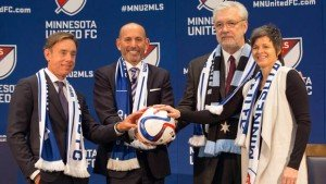 MLS Commissioner Don Garber with Mnnesota United's MLS Ownership