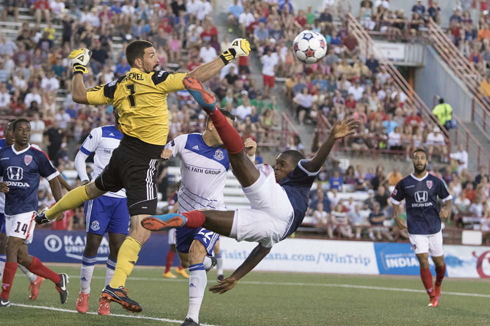 Eddies keeper Matt Van Oekel parries a shot during the June 13th game between Indy Eleven and FC Edmonton. (Photo: Indy Eleven)