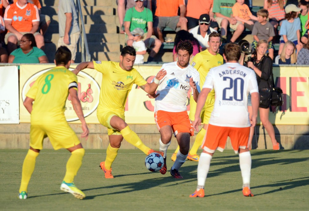 Aug 1, 2015; Cary, NC USA. The Carolina RailHawks hosted the Tampa Bay Rowdies in a NASL fall season match at Wake Med Soccer Park. (Photo: Rob Kinnan-Carolina RailHawks)