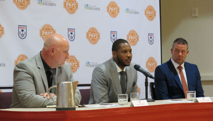 Puerto Rico FC owner Carmelo Anthony flanked by Neil Sillett and Adrian Whitbread. (Photo: NASL)
