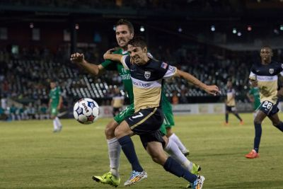 Hunter Freeman (NYC) and Lucas Rodriguez (JAX) contest a ball. (Photo: New York Cosmos)