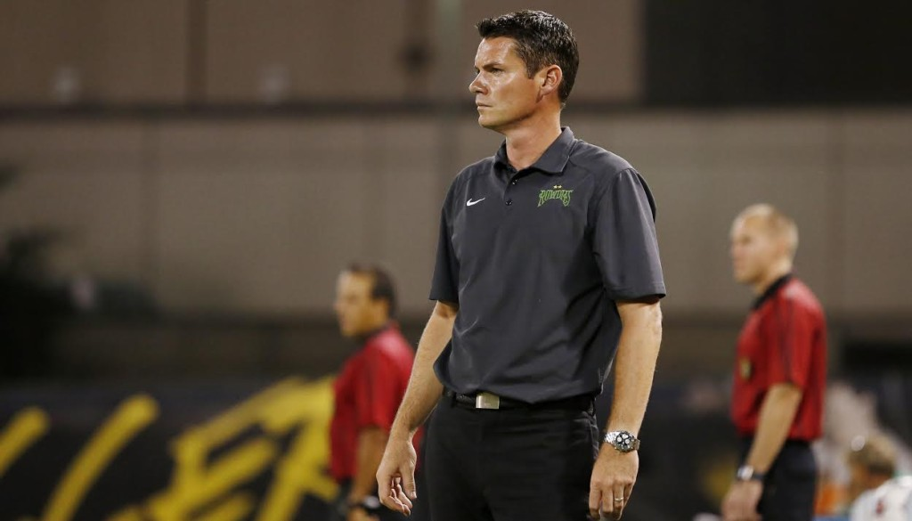 AUGUST 22, 2015 - ST. PETERSBURG, FLORIDA: Head Coach Stuart Campbell of the Tampa Bay Rowdies during the match against Minnesota United FC at Al Lang Field on Saturday August 22, 2015. The Rowdies lost the match 3-1. Photo by Matt May/Tampa Bay Rowdies