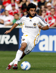 LA Galaxy midfielder Josh Tudela (19) dribbles the ball. The Chicago Fire defeated the LA Galaxy 1-0 at Toyota Park in Bridgeview, IL on October 21, 2007.