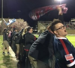 """The Brickyard Battalion representing Indy Eleven in """"South Goal"""" for the match (Photo Credit to Bloody Shambles Soccer Show)"""