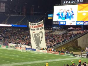 The midnight riders display their TIFO. Photo courtesy of midnight riders.