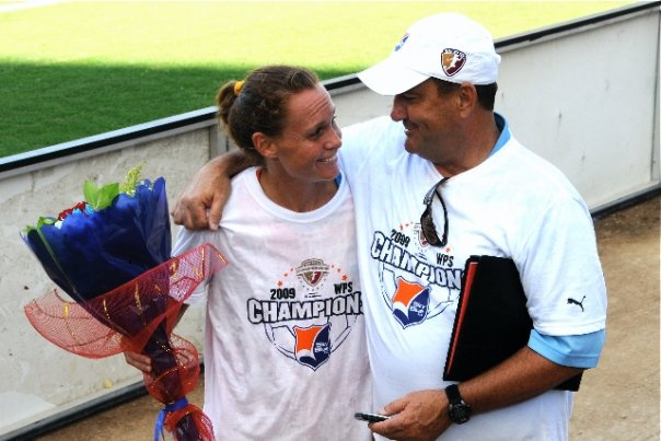 Coach/Player Christie Rampone and Assistant Coach Mike Lyons after the Sky Blue victory. Photo Credit: Gerry Marrone